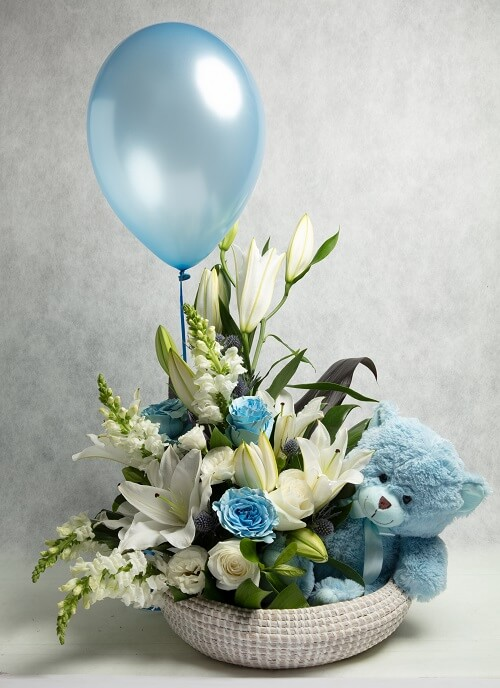 Blue new Baby gift Basket